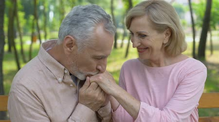 disposição : Happy senior couple embraces in park, man kisses wife hands, love until old age