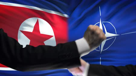 confronto : BRUSSELS, BELGIUM - CIRCA JUNE 2018: North Korea vs NATO confrontation, interests conflict, fists on flag background Stock Footage