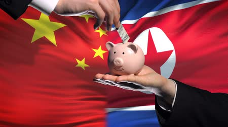 глобализация : China investment in North Korea hand putting money in piggybank, flag background Стоковые видеозаписи