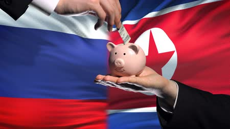 yeniden yapılanma : Russia investment in North Korea hand putting money in piggybank flag background