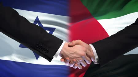 saygı : Israel and Palestine handshake, international friendship policy, flag background