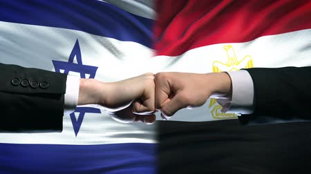 colision : Israel vs Egypt conflict, international relations, fists on flag background Archivo de Video
