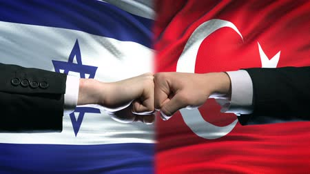 oposição : Israel vs Turkey conflict, international relations, fists on flag background Vídeos