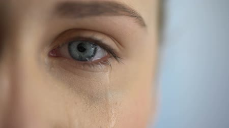 expressing negativity : Sad woman crying, suffering pain eyes full of tears, domestic violence victim