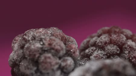 kızılcık : Frozen berries close-up, food freezing, healthy organic nutrition, vitamins Stok Video