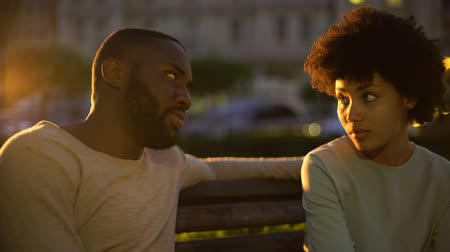 trusting : Couple hugging on park bench in twilight, romantic moments, perfect relations