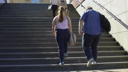 пухлый : Fat couple walking together on stairs, problems of overweight among young people