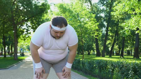 упитанность : Purposeful fat man running in park, out of breath, persistent motivation