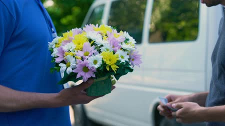 почтальон : Male paying courier for flowers delivery, anniversary present, birthday gift Стоковые видеозаписи