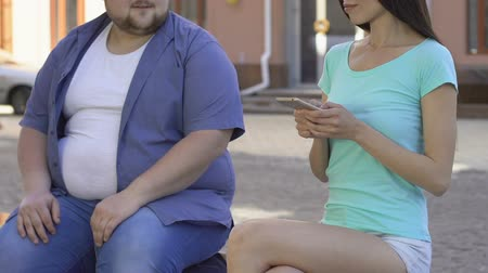 unlucky : Unlucky obese man flirting with pretty slim woman, appearance insecurities