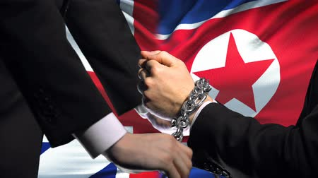 penas : Great Britain sanctions North Korea chained arms, political or economic conflict Stock Footage