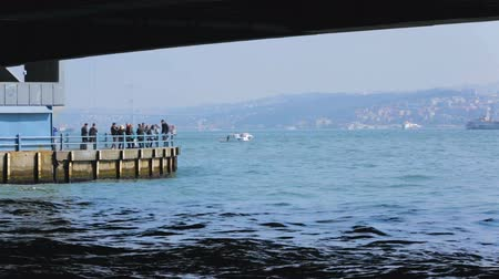 agência : People taking photo from cityscape viewing point under bridge, steamers sailing