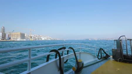 перевозка : Turkey coastline scenery while sailing on cruiser, beautiful landscape. Стоковые видеозаписи