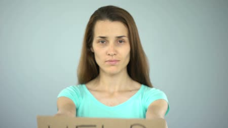 ассоциация : Help sign in womans hands, female rights protection, violence prevention