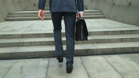 on the go : Businessman with diplomatic briefcase climbing stairs to office building, career