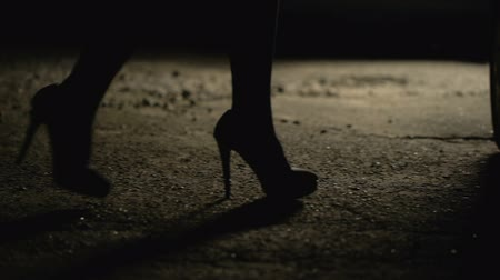 prostitutie : Silhouette of female legs in high heels coming to car, prostitution. Stockvideo