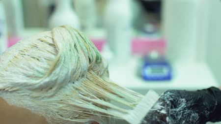 краситель : Beauty salon worker applying blond color customer hair, highlighting and ombre
