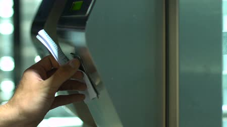 passar : Man passing identification scanning at modern security checkpoint Stock Footage