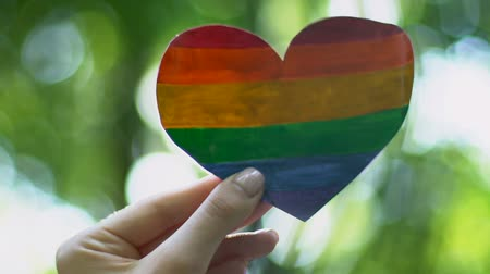 uznání : Female hand holding rainbow paper heart, recognition of sexual minorities rights