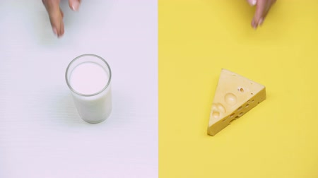twarożek : Glass of milk and cheese, dairy products rich in calcium, lactose intolerance