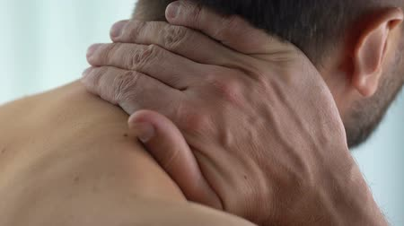 sedentary : Patient massaging neck, feeling spinal ache, painful spasm, medicine, healthcare