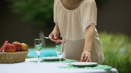 lunchen : Woman serving tableware, waiting for friends to have dinner party at home