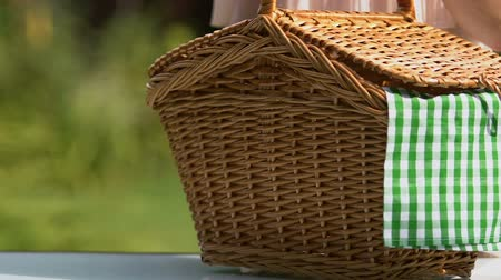 vime : Female putting picnic basket on table closeup, open air meal for family weekend
