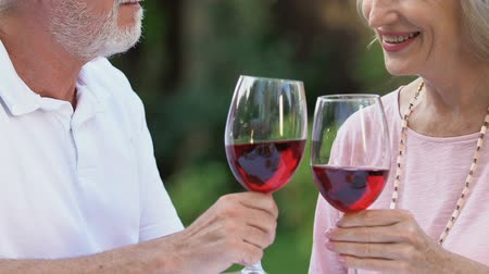 lasting : Senior couple smiling, clinking glasses and drinking wine, long lasting marriage Stock Footage
