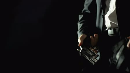 pneumatic : Male official buying weapon from dealer, illegal means of self-defense, closeup Stock Footage