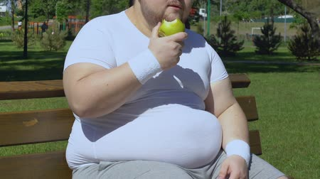 dietético : Plump man eating apple and sitting on bench, healthy low calorie snack, diet