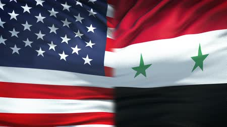 damasco : United States and Syria flags background, diplomatic and economic relations