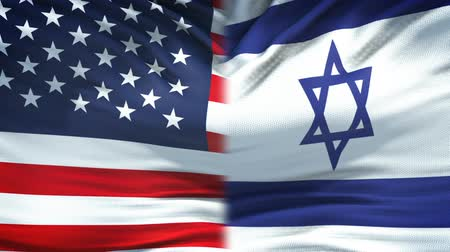 humanitarian : United States and Israel flags background, diplomatic and economic relations