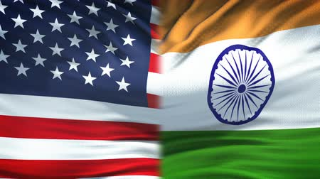 глобализация : United States and India flags background, diplomatic and economic relations