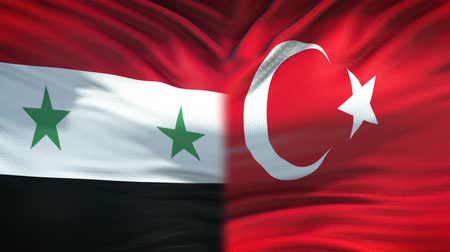 damasco : Syria and Turkey flags background, diplomatic and economic relations, business