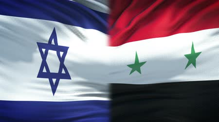 damasco : Israel and Syria flags background, diplomatic and economic relations, business Vídeos
