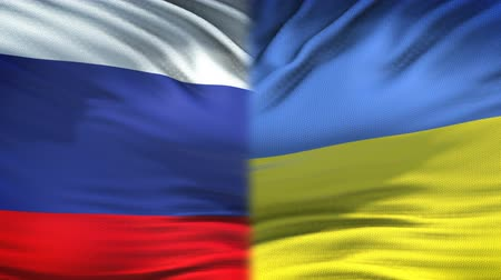 scontro : Russia and Ukraine flags background, diplomatic and economic relations, business Filmati Stock