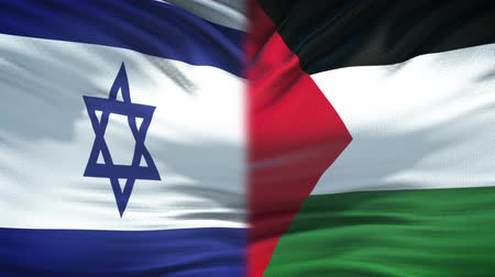パレスチナ : Israel and Palestine flags background, diplomatic and economic relations