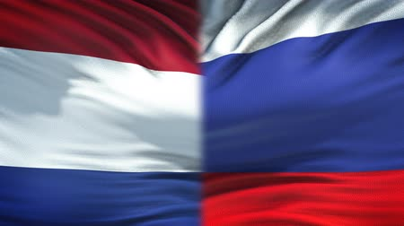 humanitarian : Netherlands and Russia flags background, diplomatic and economic relations