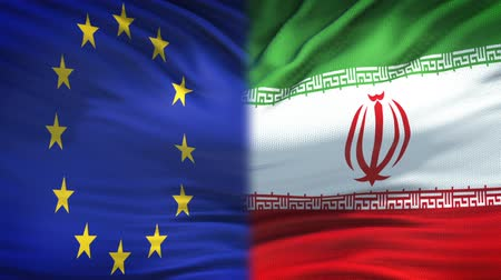 zahraniční : European Union and Iran flags background, diplomatic and economic relations