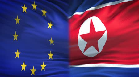 humanitarian : European Union and North Korea flags background, diplomacy, economic relations