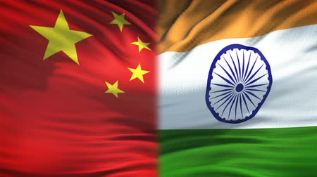peking : China and India flags background, diplomatic and economic relations, business