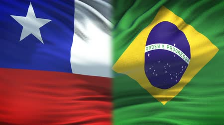 bandiera brasiliana : Chile and Brazil flags background, diplomatic and economic relations, business