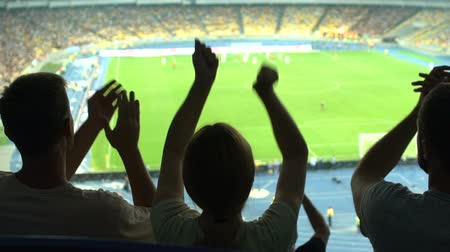 stadyum : Friends rejoicing at goal, watching football at stadium together, friendship Stok Video