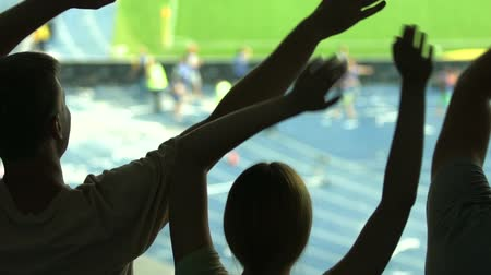 crowd together : Soccer fans waving hands, supporting national team at stadium, leisure activity Stock Footage