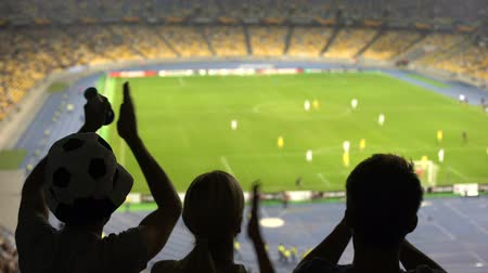arquibancadas : Group of fans cheering for football team victory at crowded stadium, competition