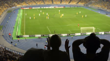 審判 : Disappointed football fans supporting favorite team at stadium, loss in match