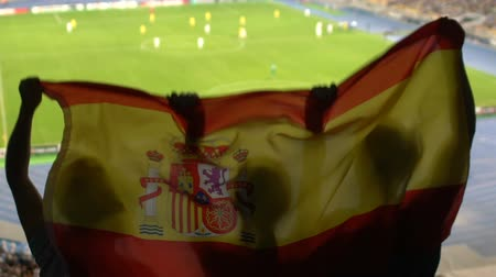 standlar : Soccer fans with Spanish flag jumping in stands, cheering for favorite team