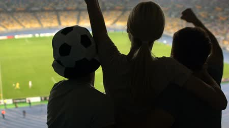pontão : Football fans lifting girl, happy about match victory, positive emotions and joy