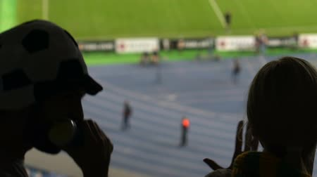 поддержка : Football supporter blowing in horn at stadium, friends celebrating goal.