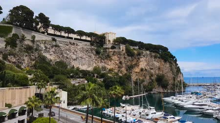 cote : Stunning panorama of Port de Fontvieille with luxury white yachts in Monte Carlo
